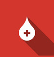blood drop icon isolated with long shadow vector image vector image