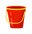 bright red bucket with yellow handle metal or vector image vector image
