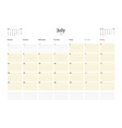 Calendar Template for Jule 2016 Week Starts Monday vector image