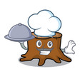 chef with food tree stump mascot cartoon vector image vector image
