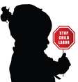 child with stop humain trafficking sign vector image vector image