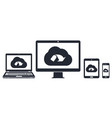 cloud network on computer display laptop tablet vector image vector image