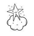 clouds and stars cute cartoons in black and white vector image vector image