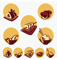 collection of japanese food symbols vector image vector image