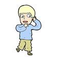 comic cartoon frightened boy vector image vector image