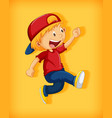 cute boy wearing red cap with stranglehold vector image