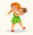 cute little girl carrying cardboard box poster vector image vector image