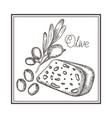 delicious cheese and olive isolated icon vector image