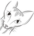 doodle cat head night animal tangle pattern vector image vector image