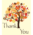 fall tree thank you card vector image vector image