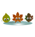 fallen leaves with big eyes vector image vector image
