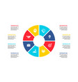 flat circle element for infographic with 8 parts vector image vector image