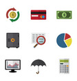 flat icon gain set of interchange chart parasol vector image vector image