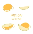 flat melon icons set vector image vector image