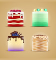 four delicious cakes with caramel and macaroons vector image