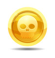 game coin with skull game interface gold vector image vector image