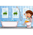 Girl sitting on toilet in bathroom vector image vector image