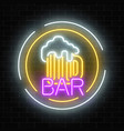 glowing neon beer pub signboard in circle frames vector image vector image