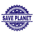grunge textured save planet stamp seal vector image vector image
