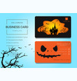 halloween business card or name card template vector image