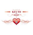 Happy Valentines day borderlocked heart key vector image vector image