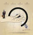 Infographic diagram hand with circle scale vector image