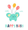 little cute elephant flying with balloons vector image
