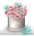 lovely roses flowers bouquet realistic vector image vector image