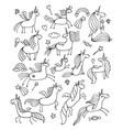 magic unicorns design for coloring book vector image vector image