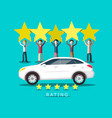 new car rating with people holding five stars vector image vector image