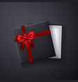 open black empty gift box with red bow and ribbon vector image vector image