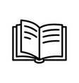 open book icon in line style pictograph library vector image vector image