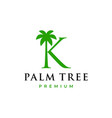 palm tree k letter mark logo icon vector image vector image