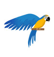 parrot ara ararauna flat icon cartoon style blue vector image vector image