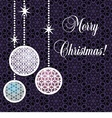 postcard with colorful christmas toys vector image