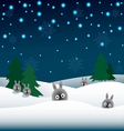 rabbits in the snow and Christmas trees vector image vector image