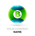 realistic letter b logo symbol in colorful circle vector image vector image