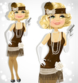 retro glamour gangster girl vector image vector image