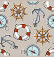 seamless pattern with anchors lifebuoies ships vector image vector image