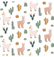 seamless pattern with cute alpacas and cacti vector image