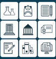 set of 9 school icons includes library diploma vector image vector image