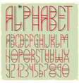 Slim red alphabet letters