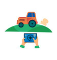 smart farming technology - remote control tractor vector image