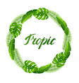 wreath with tropical palm leaves exotic tropical vector image vector image