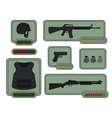 Military weapons icons Game resources vector image