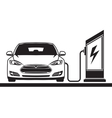 Electric car and filling station vector image