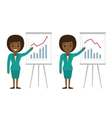 Afro american businesswoman showing graphics vector image