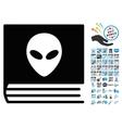 Alien Catalog Icon with 2017 Year Bonus Symbols vector image