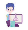 back to school student boy textbooks computer vector image vector image