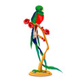 beautiful bird of paradise sitting on a wooden vector image vector image